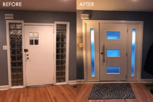 Before and after image of aluminum HMI Door Replacement
