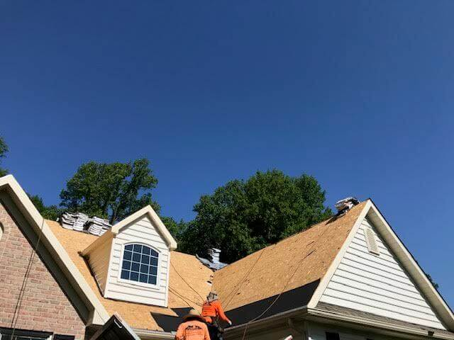 Roofing Contractors Installing a new roof in Lancaster, PA