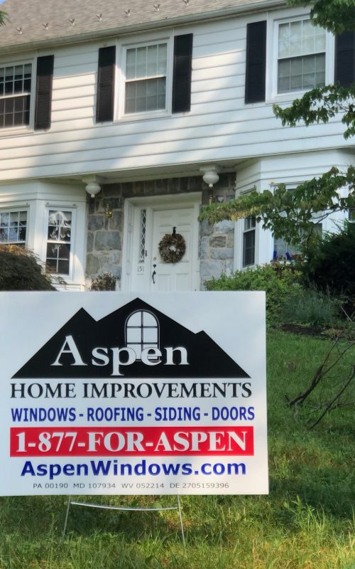 Aspen Home Improvements busisness sign at clients property in Lancaster PA